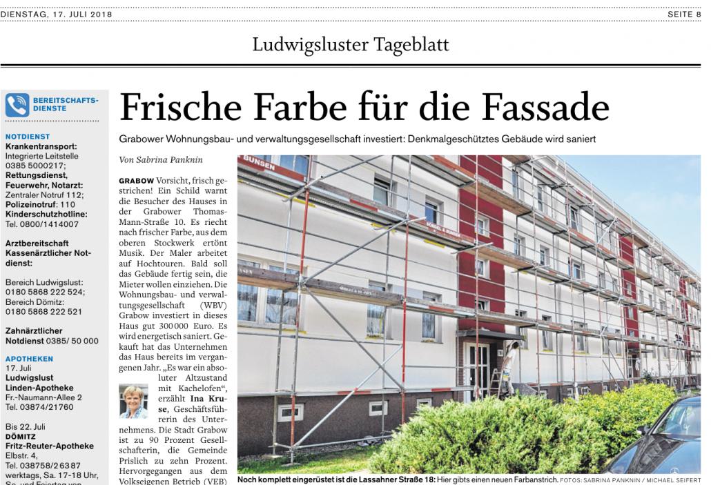 Ludwigsluster Tageblatt > Frische Farbe für Fassade – Quelle: https://www.svz.de/20452927 ©2021