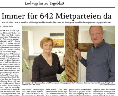 Immer für 642 Mietparteien da Vor 30 Jahren wurde aus einem Volkseigenen Betrieb die Grabower Wohnungsbau- und Wohnungsverwaltungsgesellschaft